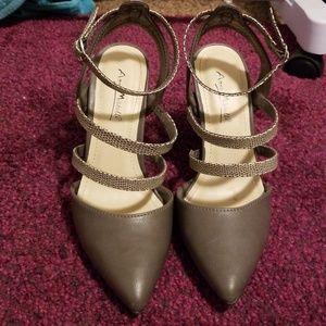Grey pointed toe stilettos with snake skin